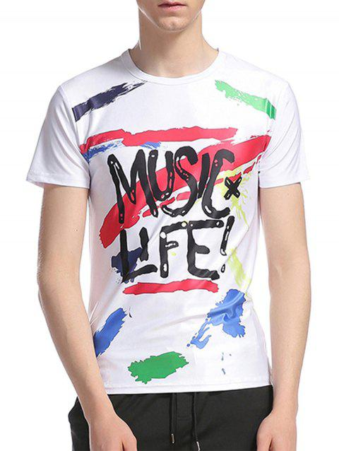 Graphic Splatter Paint Print Short Sleeve T-Shirt - COLORMIX L