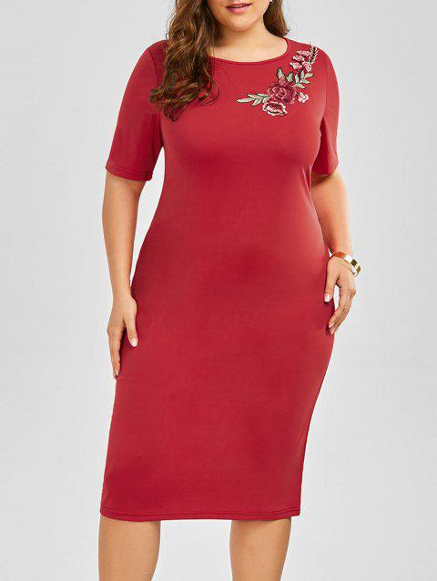 Plus Size Embroidered Embellished Midi Sheath Dress - RED 3XL