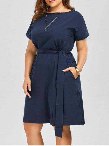 4b5a318aec2 Plus Size Belted Knee Length Dress With Pockets