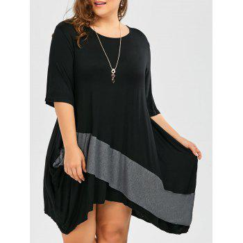 Plus Size Dolman Sleeve Color Block Baggy Tee Dress
