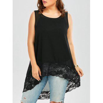 Plus Size Lace Trim Chiffon Flowy High Low Top