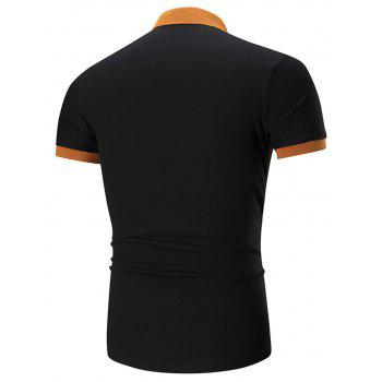 Two Tone Embroidered Polo Shirt - BLACK BLACK