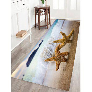 Starfish Print Water Absorption Flannel Antiskid Bathroom Rug