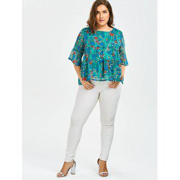 Plus Size Chiffon Ruffled Floral Top - 4XL 4XL