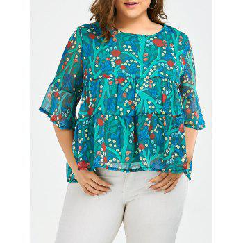 Plus Size Chiffon Ruffled Floral Top
