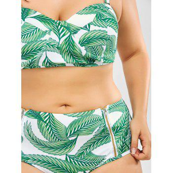 Palm Leaf Print High Waisted Plus Size Bikini - 3XL 3XL