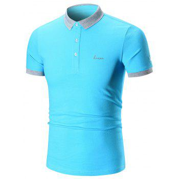 Two Tone Embroidered Polo Shirt - AZURE AZURE