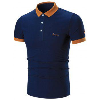 Two Tone Embroidered Polo Shirt - CADETBLUE CADETBLUE