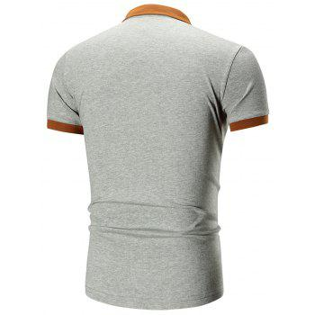 Two Tone Embroidered Polo Shirt - GRAY GRAY