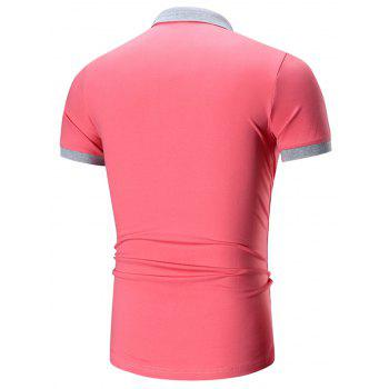 Two Tone Embroidered Polo Shirt - WATERMELON RED WATERMELON RED