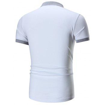 Two Tone Embroidered Polo Shirt - WHITE WHITE