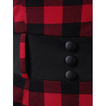 Button Detail Plaid Pencil Dress - RED RED
