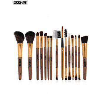 MAANGE 15Pcs Multifunction Makeup Brushes Set - BROWN BROWN