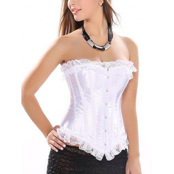 Lace Trim Satin Strapless Corset Top - WHITE S