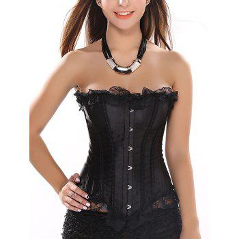 Lace Trim Satin Strapless Corset Top