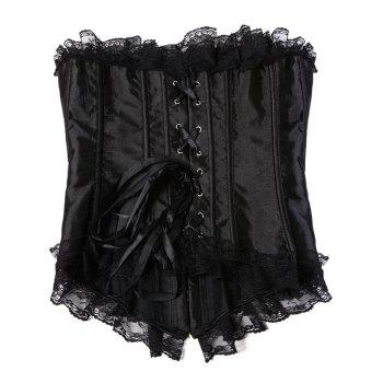 Lace Trim Satin Strapless Corset Top - BLACK BLACK