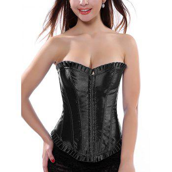 Lace-Up Pleated Trim Strapless Corset Top