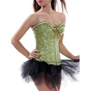 Lace-Up Ruffle Strapless Sweetheart Corset Top - GREEN 2XL