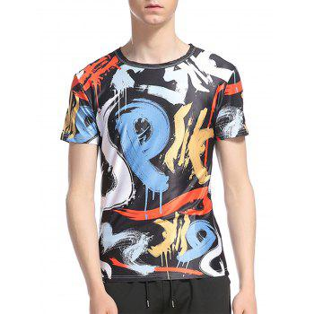 Splatter Paint Scrawl Number Print Short Sleeve T-Shirt