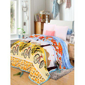Maple Bicycle Print Super Soft Bedding Throw Blanket