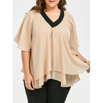 Plus Size V Neck Flounce Chiffon Flowy Top