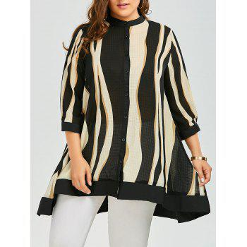 Plus Size Two Tone Chiffon Swing Tunic Top