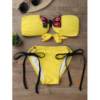 Tie Side Strapless Bandeau Bikini Set - YELLOW S