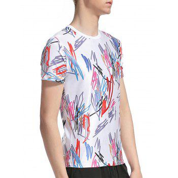 Colorful Scrawl Print Short Sleeve T-Shirt - 2XL 2XL