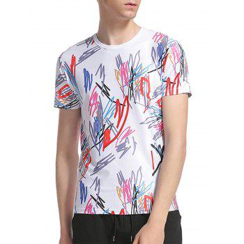 Colorful Scrawl Print Short Sleeve T-Shirt - WHITE 2XL