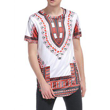 Ethnic Style Print Short Sleeve Curve Bottom T-Shirt - 2XL 2XL