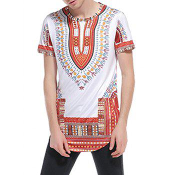 Ethnic Style Print Short Sleeve Curve Bottom T-Shirt - WINE RED WINE RED