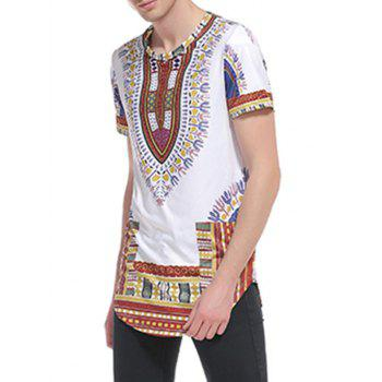 Ethnic Style Print Short Sleeve Curve Bottom T-Shirt - S S