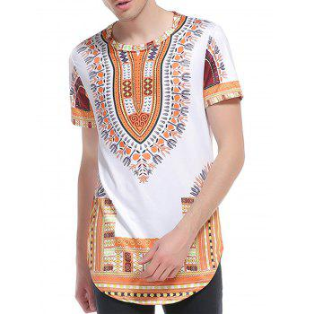 Ethnic Style Print Short Sleeve Curve Bottom T-Shirt - YELLOW YELLOW