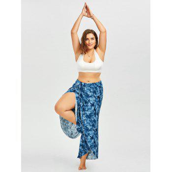 Plus Size Tie Dye Slit Palazzo Dressy Pants - BLUE 5XL