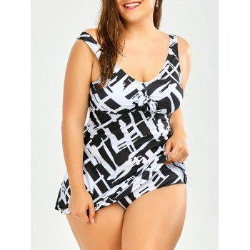 Plus Size Printed Padded Dressy Tankini Swimsuit