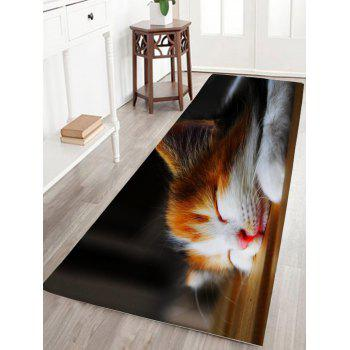 Sleeping Cat Print Flannel Antislip Bathroom Rug