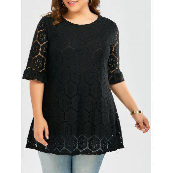 Plus Size  Flounce Bell Sleeve Lace Blouse