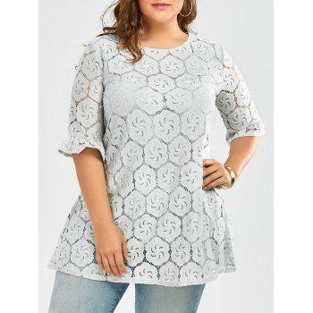 Plus Size Long Lace Blouse with Bell Sleeve