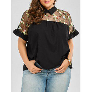Collared Mesh Trim Embroidered Plus Size Top