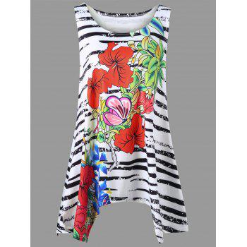 Plus Size Floral and Zebra Tank Top