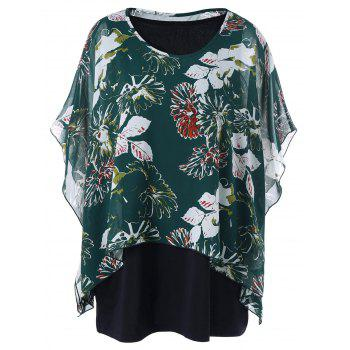 Plus Size Butterfly Sleeve Blouse with Tank Top