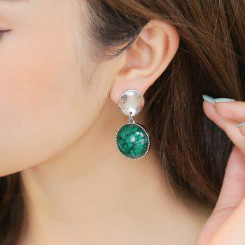 Faux Gem Plating Metallic Round Piece Earrings