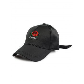 Rose Letters Embellished Baseball Hat with Bowknot Tail