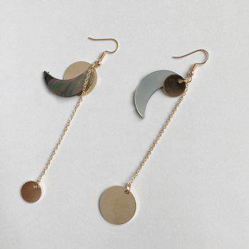 Crescent Sun Element Asymmetric Drop Earrings