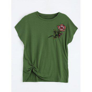 Floral Embroidered Front Twist T-Shirt