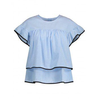 Contrast Piped Ruffled Blouse