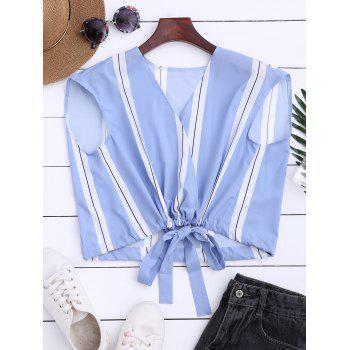 Plunging Neck Drawstring Wrap Blouse