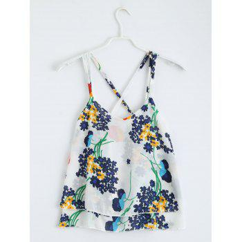Floral Print Criss Cross Layered Tank Top