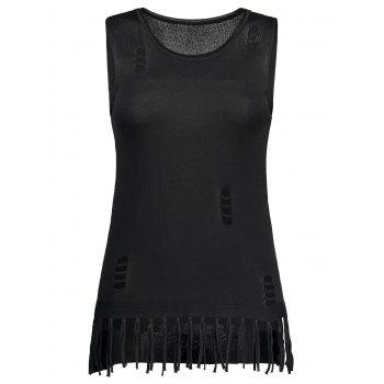 Fringed Distressed Knit Tank Top