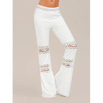 Lace Trim Elastic Waisted Flared Pants